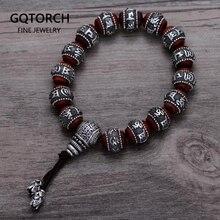 Tibetan Om Mani Padme Hum Bracelet Natural Lobular Red Sandalwood Inlaid 999 Sterling Silver Buddha Mantra For Men Women Lovers