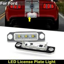 Para ford mustang flex foco fusão taurus carro traseiro branco led placa de matrícula luz lâmpada número