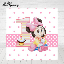 InMemory Rosa Cute Baby Minnie Mouse Fondali Per Studio Fotografico Ragazze 1st Birthday Party Fotografia Sfondi Custom(China)