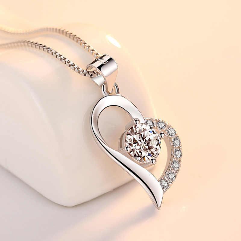 ANENJERY Classic 925 فضة مجوهرات على شكل قلب مجموعة مكعب دلاية من حجر الزركون قلادة قرط الاذن المرصع للنساء هدايا الزفاف