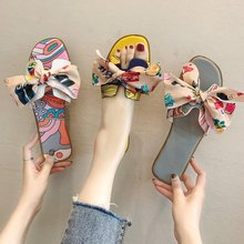 Women Slippers 2019 New Female Floral Butterfly-knot Square Heel Summer Lady Fashion Outside PU AELNN251
