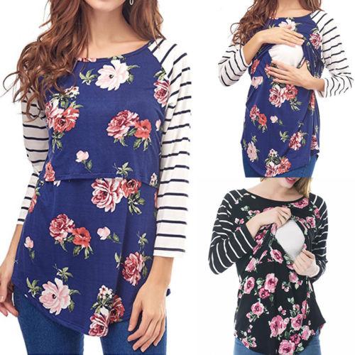 Pregnant Women Maternity Clothes Nursing Tops Breastfeeding Loose Blouse Shirt