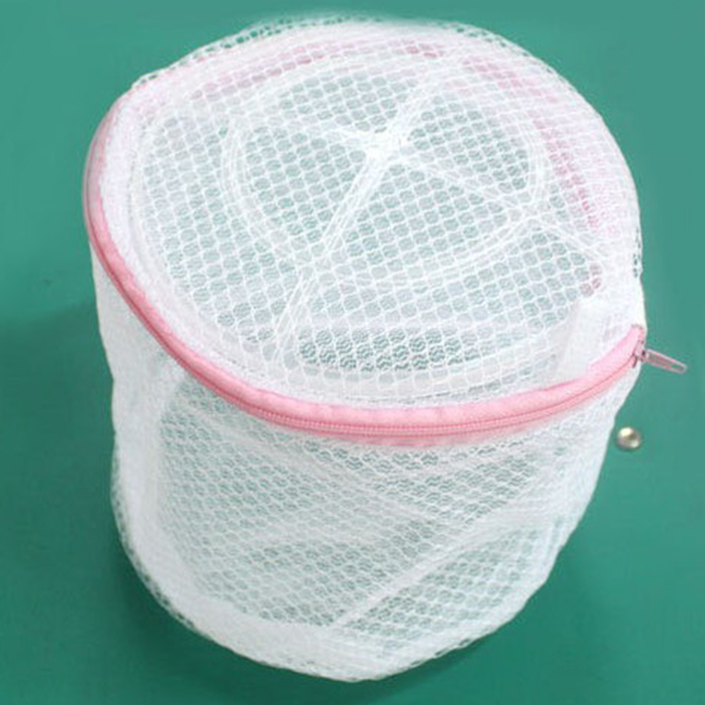 Underwear Bra Home Polyester Portable Zipper Closure Machine Wash Protective Folding Round Household Laundry Bag