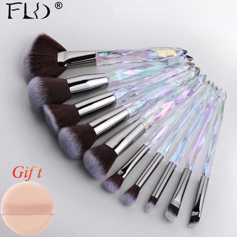 FLD, 10 шт., Кристальные кисти для макияжа, набор, пудра, основа, Веерная кисть, тени для век, бровей, профессиональные румяна, кисти для макияжа, инструменты