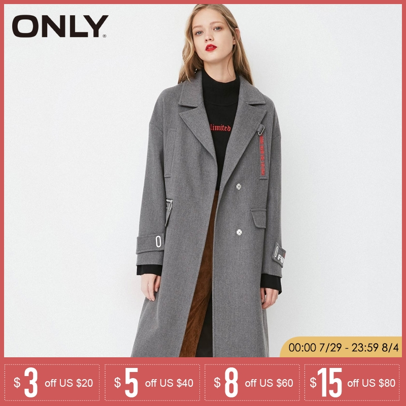 ONLY Women s Spring Summer Loose Straight Fit Embroidered Long Wind Coat 118136525