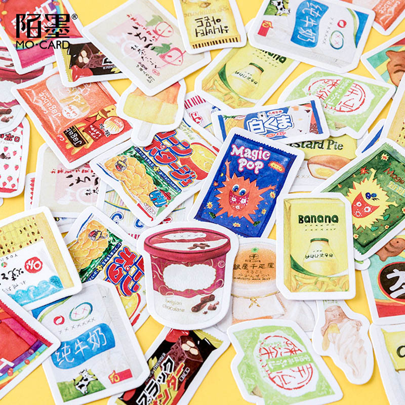 46Pcs Kawaii Stationery Stickers Cute Food Stickers Paper Adhesive Sticker For Kids DIY Decor Scrapbooking Diary Albums Supplies