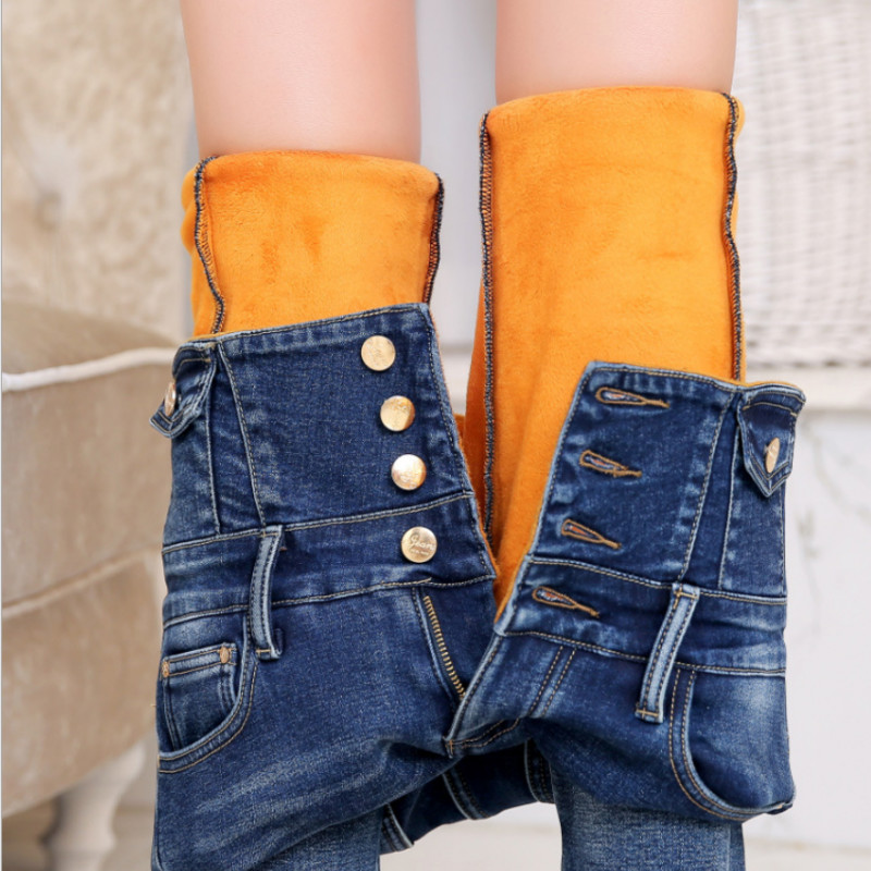 Winter Warm Thick Fleece 2019 Jeans For Women Skinny High Waist Jeans Woman Blue Denim Pencil Pants Womens  Plus Size Blue