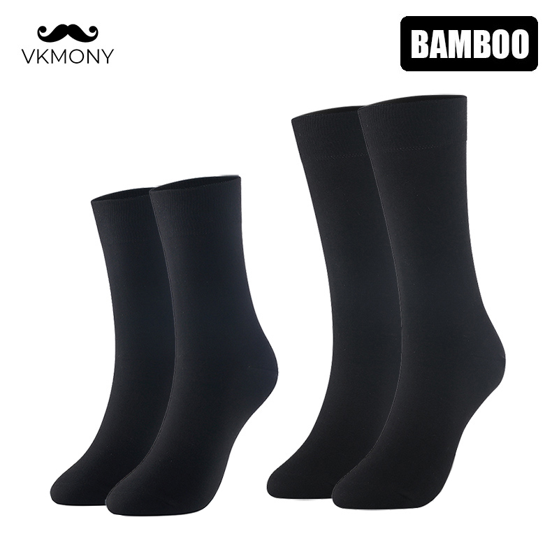 Bamboo Socks Solid Color Men Socks 6pairs/lot Man Long Boot Business Socks UK SIZE 7-11 EUR SIZE 40-46 VKMONY