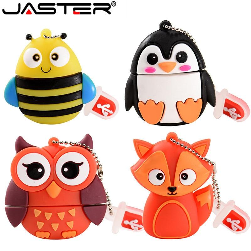 JASTER Cartoon 64GB Cute Penguin Owl Bee Fox Animal USB Flash Drive 4GB 8GB 16GB 32GB Pendrive USB 2.0 Usb Stick
