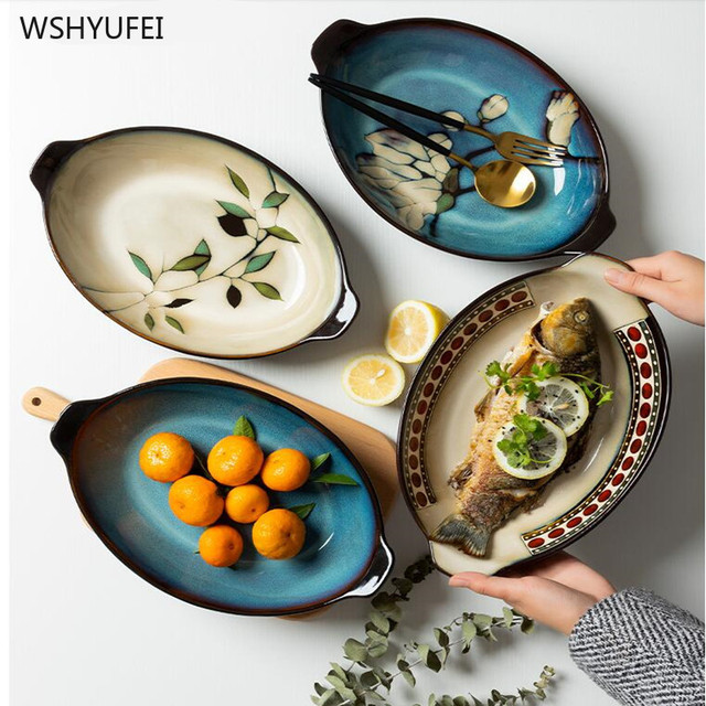 1pcs consumer and commercial hand-painted binaural fish dish western food buffet pastry wine tray dishes kitchen supplies