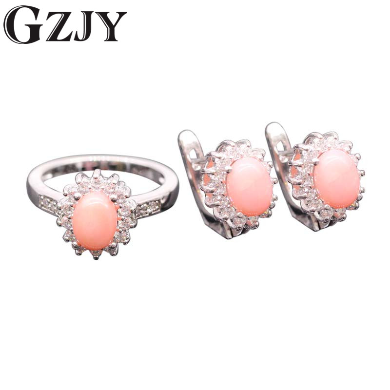 GZJY Romantic Style Natural Pink Coral AAA Cubic Zircon White Gold Color Flower Earrings Ring Set For Women Wholesale(China)