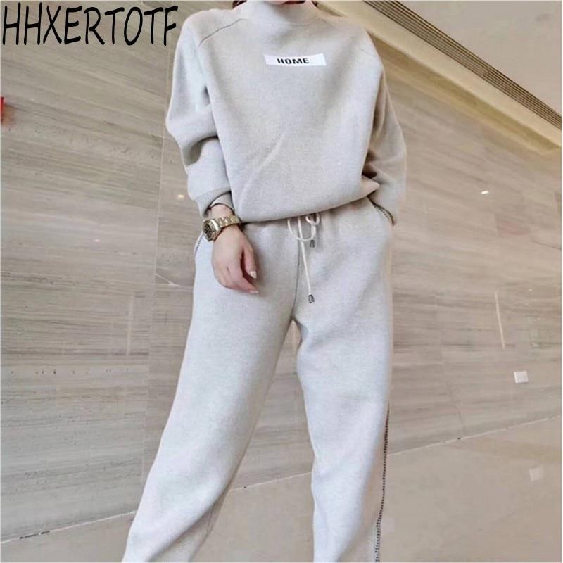 2019 automne hiver laine et cachemire tricoté chaud costume O col pull + Harem pantalon lâche style deux pièces ensemble femmes tricot