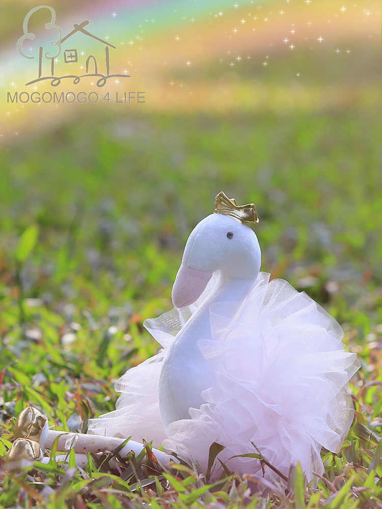 Luksusowe Mogo Swan wypchane zwierzę zabawki piękne prezenty dla dziewczyn ptak lalka złota korona ubrany różowy baleriny księżniczka łabędź
