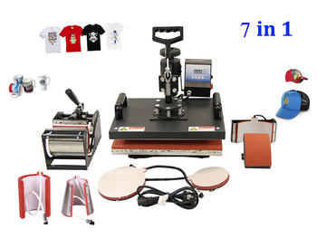 New 30*38CM 7 in 1 Combo Heat Press Machine Thermal Transfer Machine Sublimation Machine for Cap Mug Plates T-shirts Printing dhl free dhl free multifunctional sublimation heat press machine 6 in 1 for cap mug plates t shirts printing