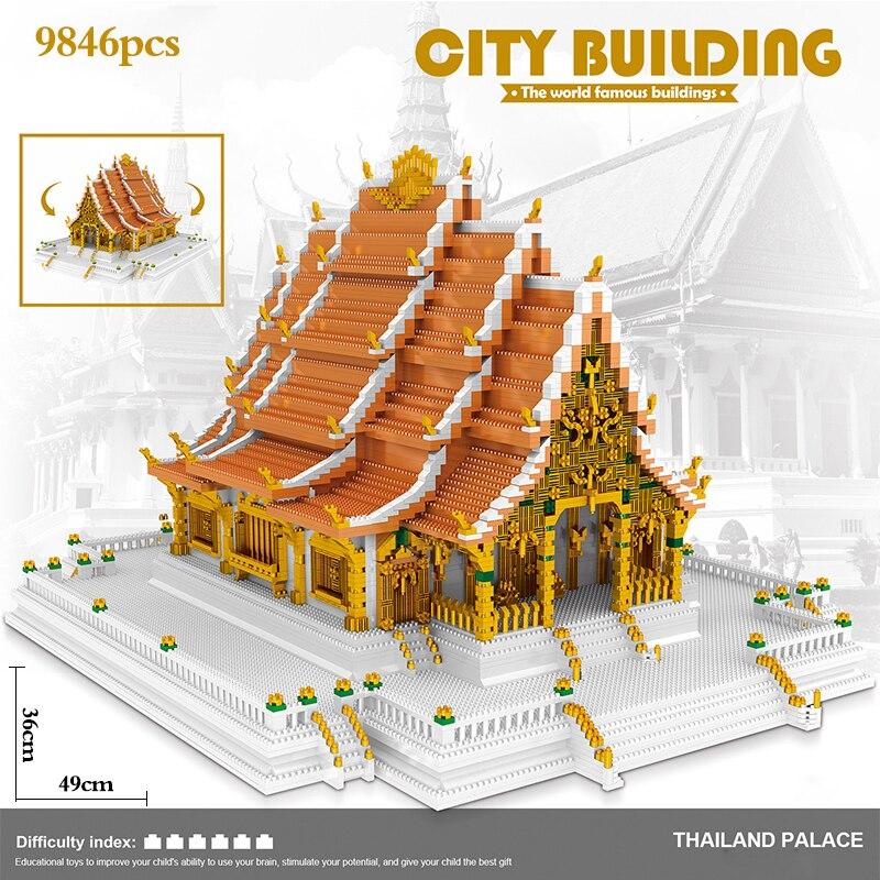 9846 шт. игрушки для детей Creator мини конструкторов в всемирно известный архитектура королевского дворца Таиланда 3D модель строительные блоки Educationa