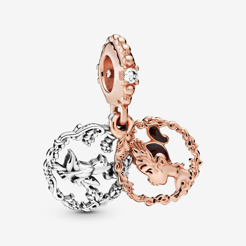2020 New Original 925 Sterling Silver Rosegold Princess Tiana Dangle Charms Pendant Beads Fit Pandora Bracelet Women DIY Jewelry