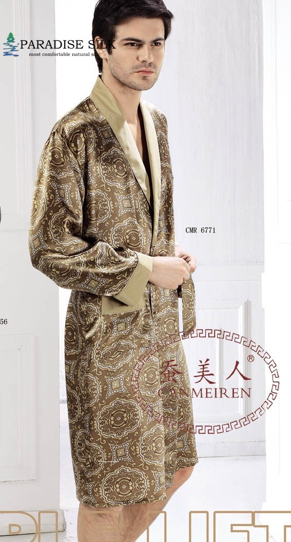 Men Robe 100% Pure Silk Extra Thick 19MM Floral Print Long Sleeve Sleepwear Kimono Size L XL XXL