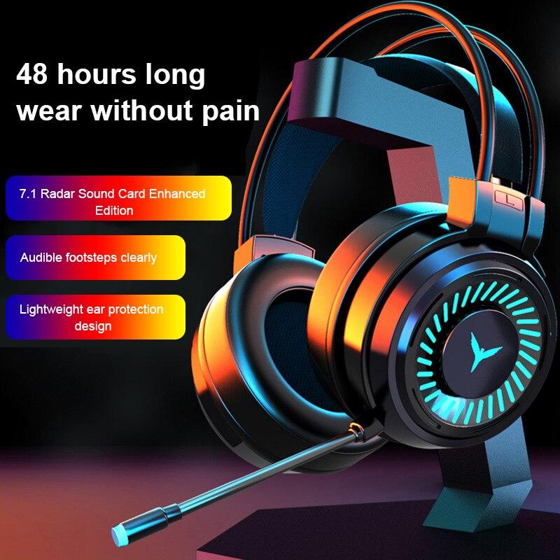 سماعات رأس للألعاب سماعات الرأس المحيطي صوت ستيريو سماعة أذن سلكية USB ميكروفون ملون ضوء للكمبيوتر المحمول|سماعة الرأس/سماعات الرأس|   - AliExpress