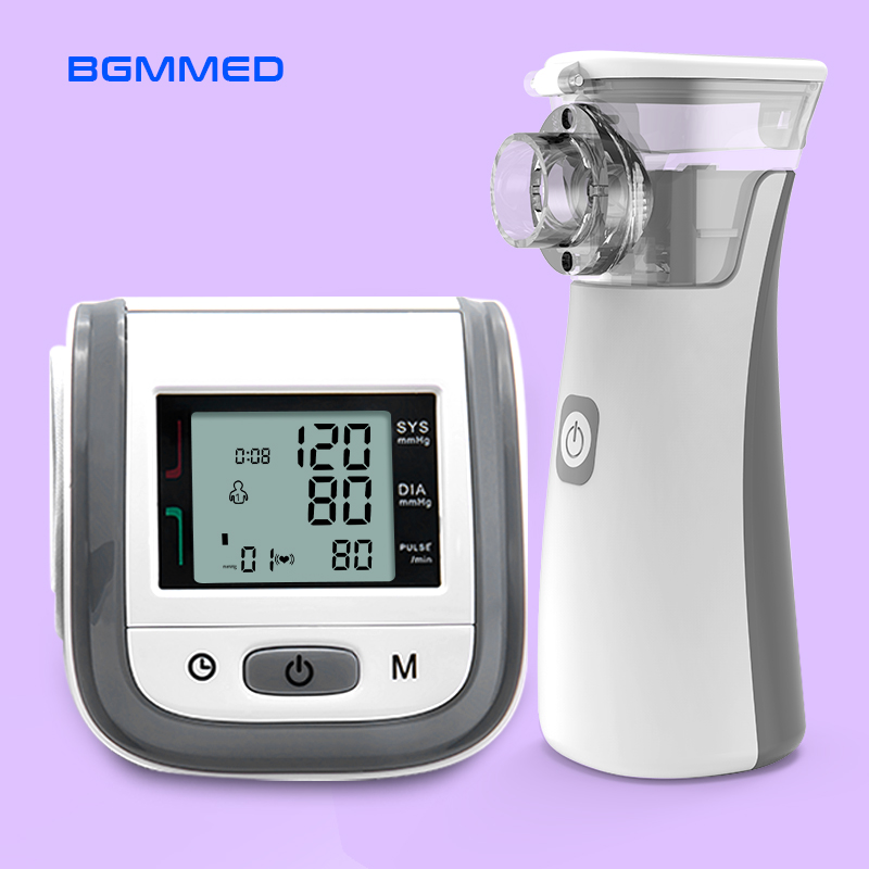 BGMMED Handheld Asthma Inhaler Nebulizer & LCD Wrist Blood Pressure Family Health Care Travel Packages