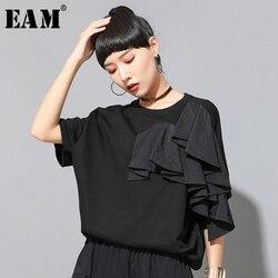 Женская футболка с оборками [EAM], черная футболка большого размера с круглым вырезом и полурукавами, весна-лето 2020 1U13