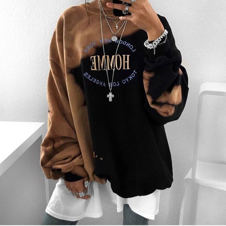 Women's Hoodie Autumn 2020 European And American Temperament Fashion O-neck Sweatshirt Irregular Pattern Long Sleeve Hoodie