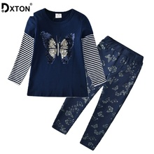 DXTON 2020 Girls Clothes 2pcs Sets Sequines Long Sleeve Tops with Pants Outfit