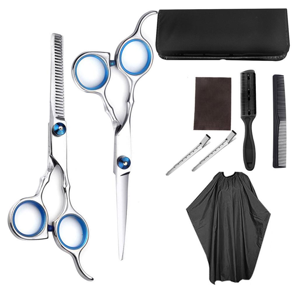 9PCS/Set Professional Hairdressing Scissors Kit Hair Cutting Scissors Hairbrush Hair Clip Hiar Cape Grooming Comb For Barber