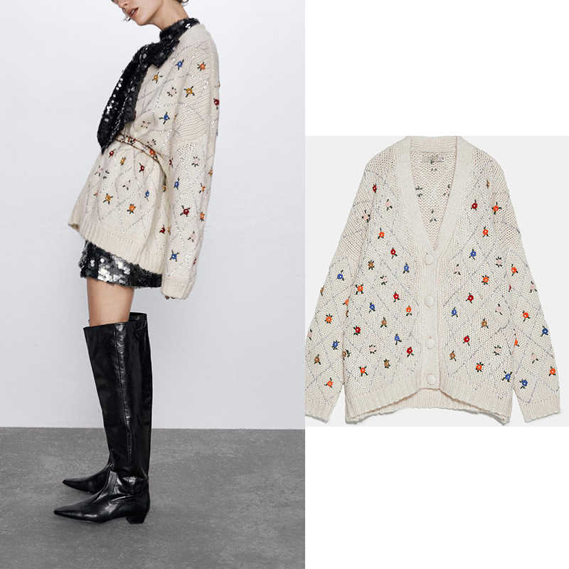 Casual knitted women sweater embroidrey floral cardigans single breast long sleeve cardigans beige cardigant women ropa mujer za