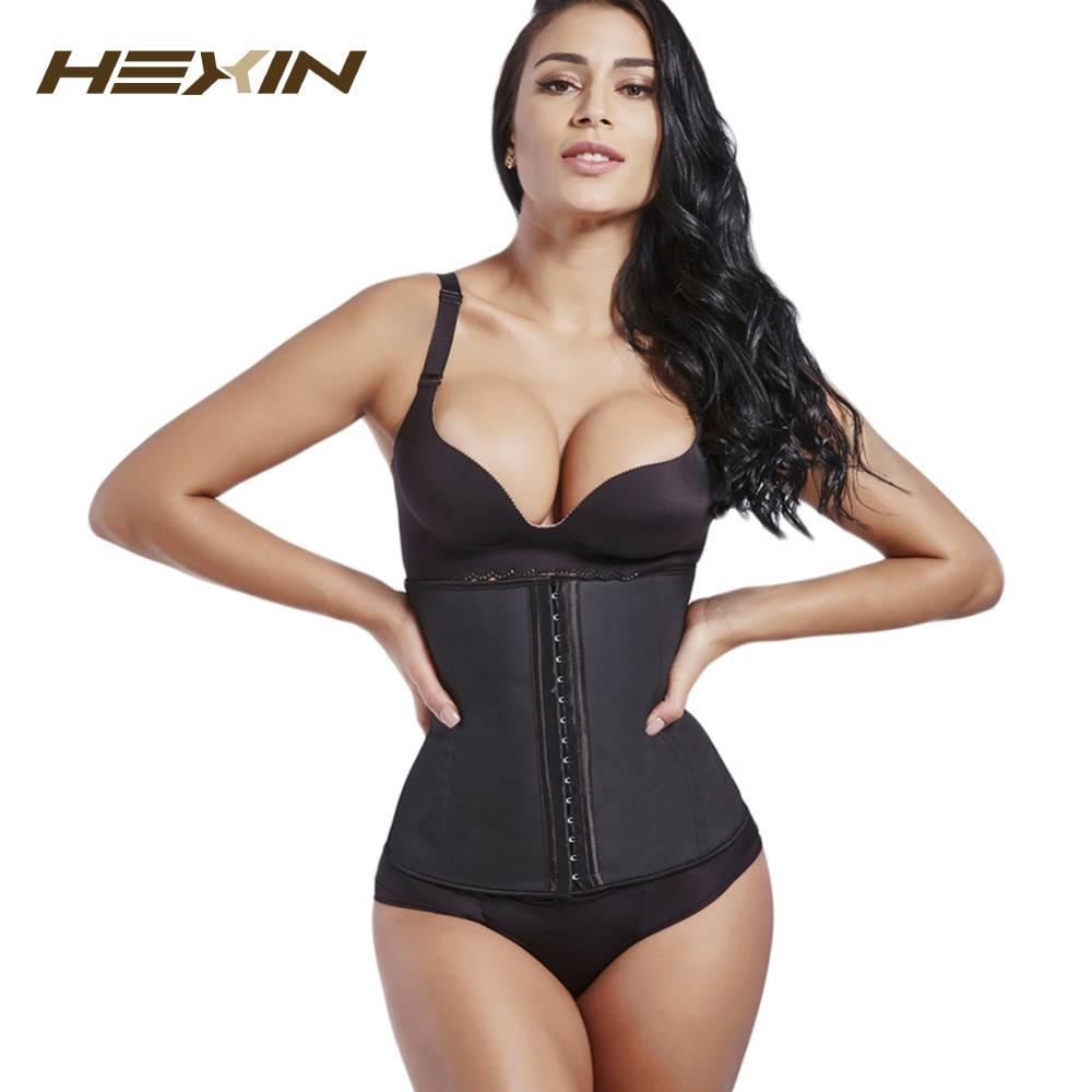 Большая скидка HEXIN! 9 Сталь корсет на косточках 100% латексный утягивающий корсет для Для Женщин Латекс моделирующий пояс-корсет формировател...