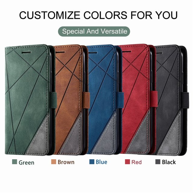Stand Business Phone Holster For Etui Xiaomi 11 Poco X3 Nfc M3 Redmi Note 10 Pro 7 7A 8 8A 8T 9 Stripe Wallet Rhombus Case D21G 6