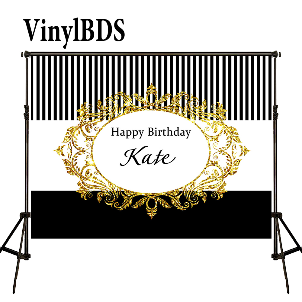VinylBDS Backdrops 10X10Ft Birthday Custom Photography Backdrop Black And White Striped Backdrop Happy Birthday Backdrop| | |  - title=