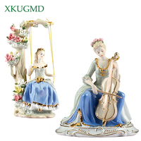 Riding Girl Ceramic Ornaments Painted Figures Statues Western Women Desktop Crafts Horse Sculpture Home Decorations Accessories