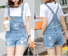 Xnxee Cute Womens Jumpsuit Sweet Wash Jeans Girl Holes Slim Denim Jumpsuits Straps Shorts Bib Blue bleach wash ruffle denim shorts