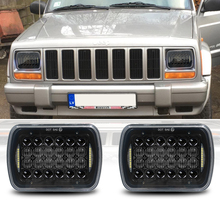72W 5X7 7X6 inç dikdörtgen mühürlü işın LED far DRL ile Jeep Wrangler YJ Cherokee XJ için H6014 H6052 h6054 LED