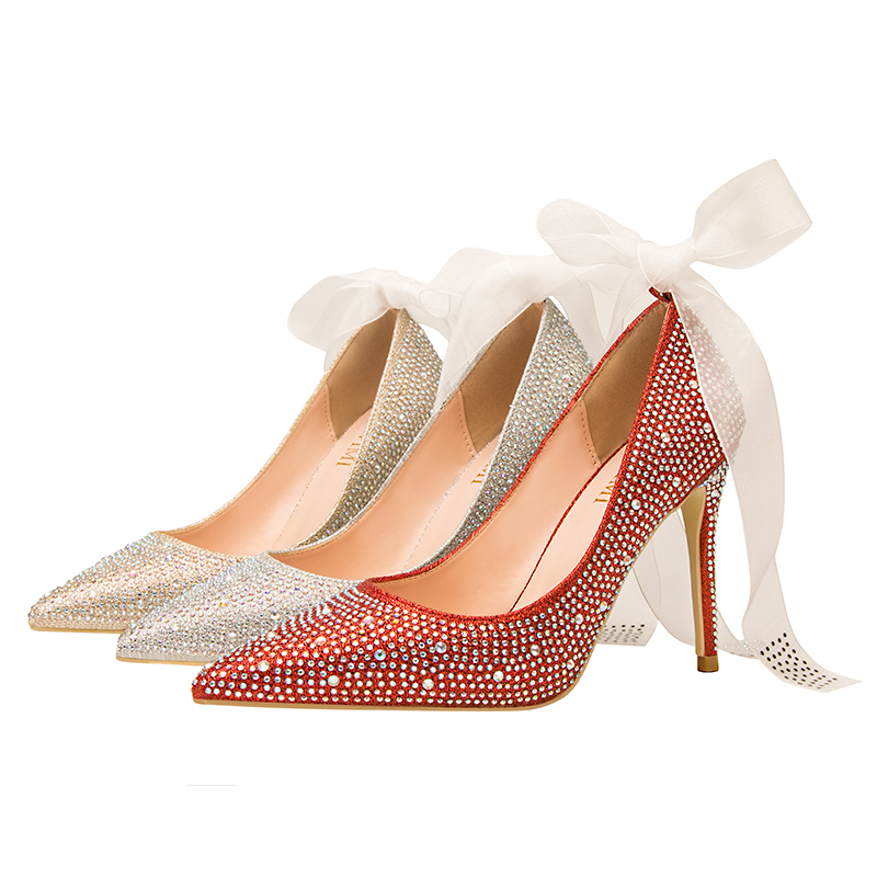 Women Sandals High Heeled Brillian Summer Girl Shoes Stiletto Shallow Pointed Shiny Rhinestones Wedding  Ankle Thin Heel Sandals