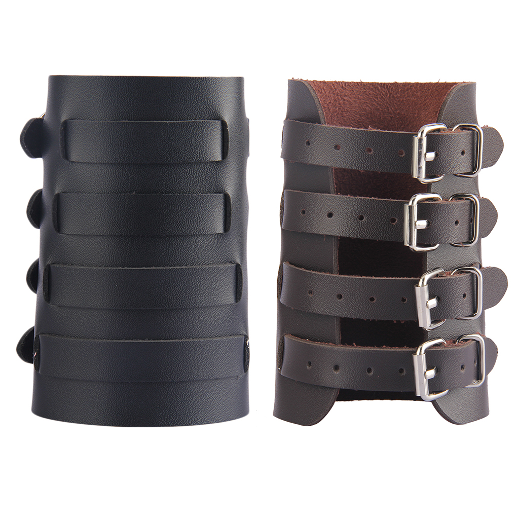 Steampunk Arm Bracer Durable PU Leather Wristband Arm Guards Gauntlet Cuff Medieval Bracers Women Men Adjustable Arm Protector