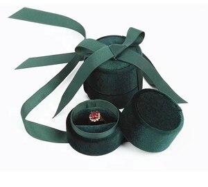Image 1 - Boîte demballage de bijoux en gros en velours vert foncé rond bowknot pour pendentif et collier