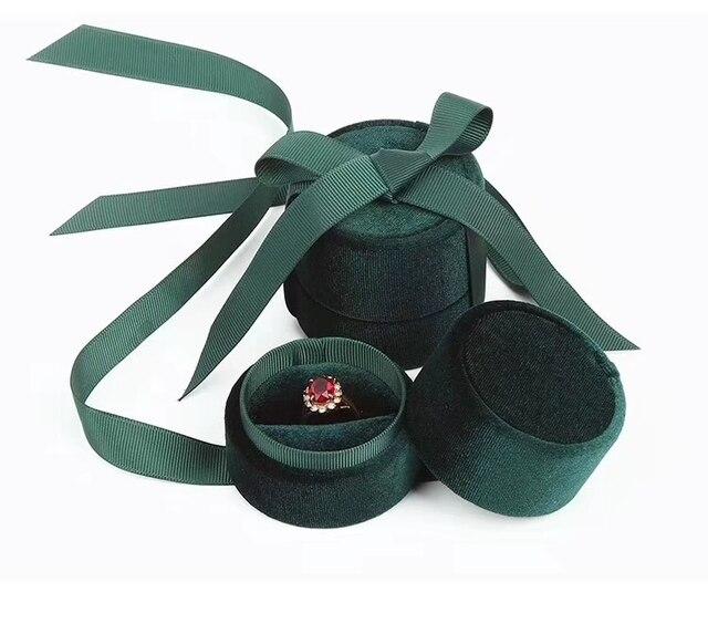 Boîte demballage de bijoux en gros en velours vert foncé rond bowknot pour pendentif et collier