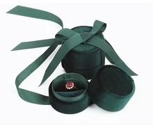 Großhandel schmuck verpackung box in dunkelgrün samt runde bowknot für ring anhänger und halskette