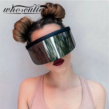 WHO CUTIE 2020 Oversize Shield Visor Mask Sunglasses Men Wom