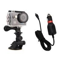 Soporte de ventosa con cargador de cámara deportiva para SJ Go serie pro, cámara de acción Caemera yi SJ4000 Hero 3 + 4, accesorios de montaje