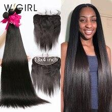 Wigirl 28 30 32 34 40 Polegada tecer cabelo brasileiro 3 4 pacotes com 13x4 rendas frontal e fechamento remy em linha reta 100% cabelo humano