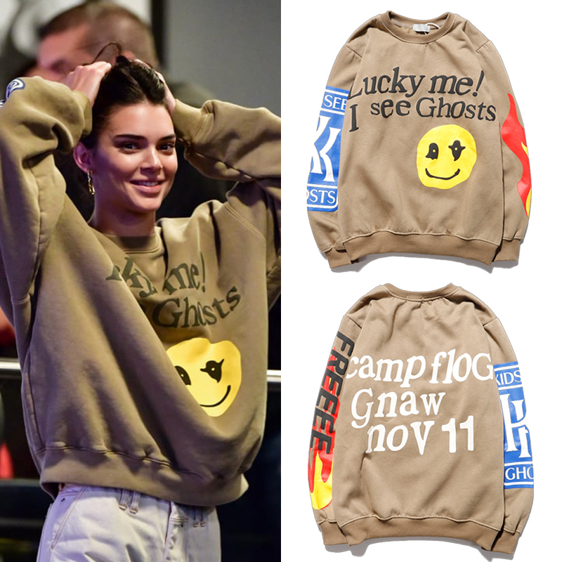 Kendall Jenner Clothes Sweatshirt I See Ghosts Hip Hop Pullover Sweatshirts Kardashian Streetwaear Women Graffiti Flame Hoodies