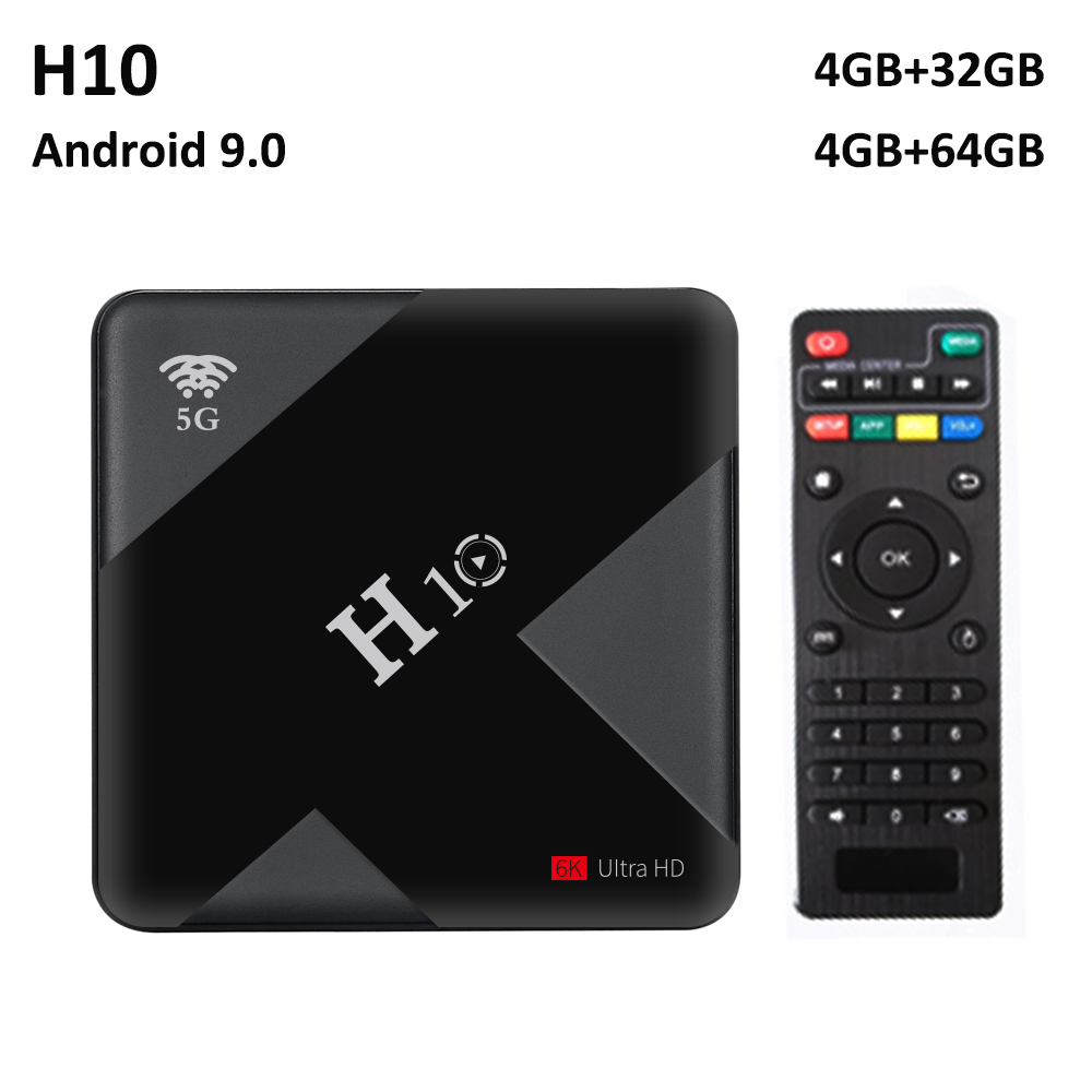 Allwinner H6 Android 9.0 TV Box H10 S905W 4GB RAM 32 GB/64 GB ROM Quad Core 6K Smart TV Box double Wifi 2.4G/5G USB3.0 décodeur