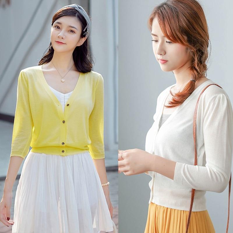 Short Design Thin Cardigan Women Cutout Sunscreen Air Conditioning Shirt Sweater Knitted Outerwear Small Cape