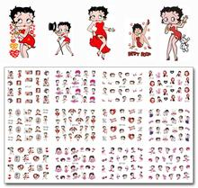 Nail Art 12 Sheets/Lot MT127-138 Red Betty Boop Nail Art Water Transfer Decal Sticker For Nail Art Tattoo(12 DESIGNS IN 1) 12 sheet lot nail water decal marble grain stone nail art water transfer decal sticker for nail art tattoo nail foil sticker art