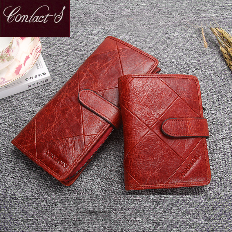Contact's Genuine Leather Women Wallets Female Cell Phone Bag Pocket Long Women Purse Hasp Lady Coin Purse Card Holder Carteras