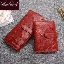 Couro genuíno das mulheres carteiras femininas bolsa de telefone celular bolso longo bolsa ferrolho senhora moeda titular do cartão carteras