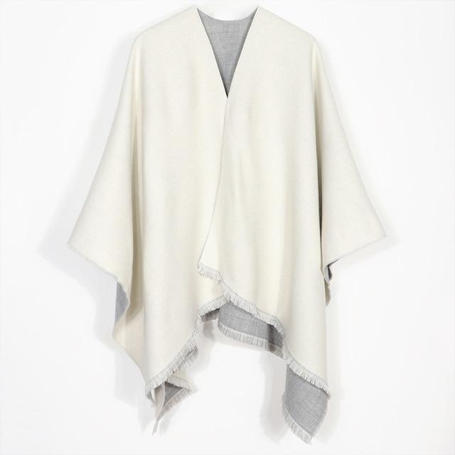 New Fashion Double Sides Winter Poncho Cashmere Women Poncho Scarf Foulard Femme Wool Shawl Poncho And Caps Tassle 4