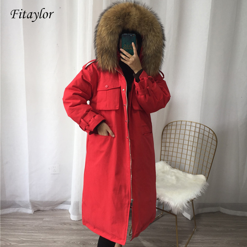 Fitaylor 2020 Large Real Natural Raccoon Fur Collar Down Coat Women Winter Thick Warm Parka Hooded White Duck Down Long Jacket